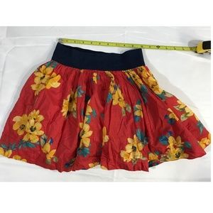 Hollister Skirt Xs Red Mini Ruffle Flowers